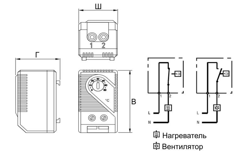 Термостат щитовой шкафной механический ТСМ