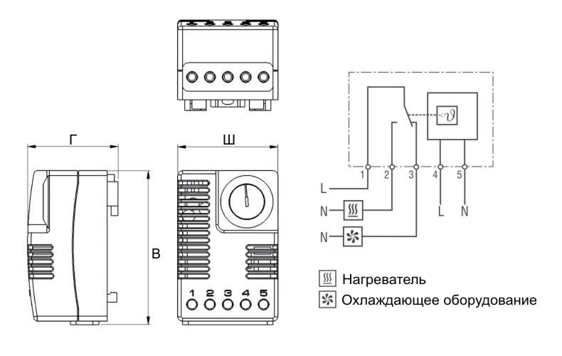 Термостат шкафной электронный ТСЭ схема подключения