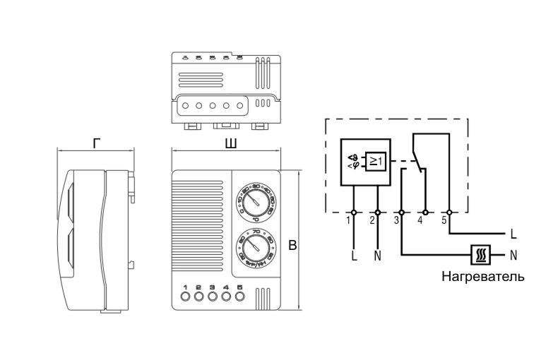 Гигростат шкафной комбинированный ГСШ-К схема