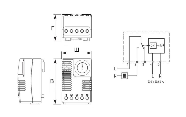 Гигростат шкафной ГСШ схема