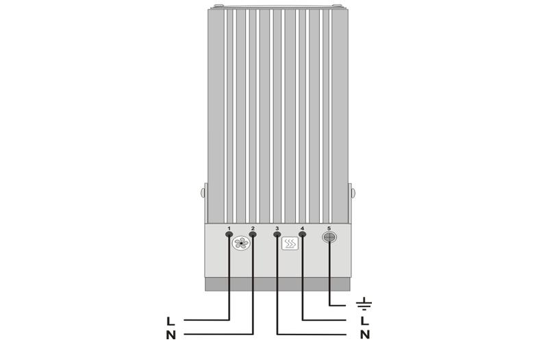 Шкафной щитовой конвекционный нагреватель ШКН-В тепловентилятор схема подключения